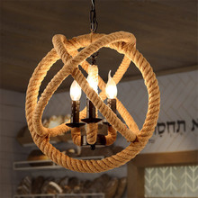 American Style Pendant Lamp for Living Room, Rattan, Cafe, Bar, Restaurant. E14 Industrial Vintage Rope Pendant Lights Fixture