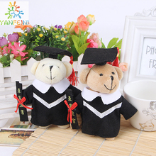 "Wholesale 13cm (5.1"") 10pcs/Lot Graduation Bear Jointed Teddy Bear Plush Toys Graduation Gift Students Gift 2Colors Wedding Toys"