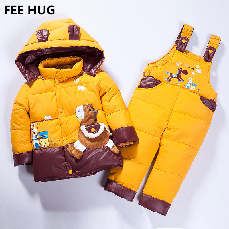 FEE HUG Russia Winter Children Cotton Down Clothes Sets Kids Girls Jackets and Overalls Pants 2pcs Clothings Suits Boys hooded <br>