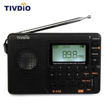 1pcs TIVDIO V-115 Multiband FM/AM/SW Radio Receiver USB Interface Charge MP3/WMA Music Player Portable Support Micro SD/TF Card