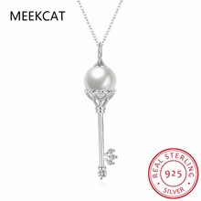 MEEKCAT Cute Real 925 Sterling Silver Key Necklace Zircon Shell Pearl Pendant Womens Necklaces Jewelry Romantic Gifts 2017