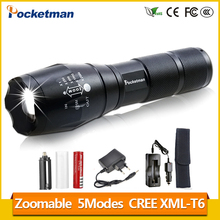 XML-T6 3000lm Adjustable Led Flashlight Led Torch Car Charger+Battery Charger+1*18650 Rechargeable Battery + Holster pouch z93(China)