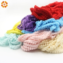18Yards/Lot Hot Sale 5MM Pom Pom Trim Ball Fringe Ribbon DIY Sewing Accessory Lace 12 Colors For Home Party Decoration(China)