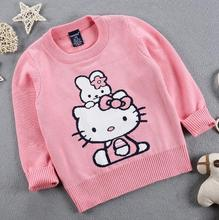 2017 Autumn Winter New Girls Hello Kitty Sweater Kids Cartoon cat thick warm Cotton Coat Children Clothing Baby Pullover Knitted