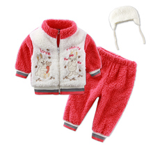 2017 New arrival coral fleece winter baby clothes set casual girls child set sports outfits hoodie zipper warm kid boys clothing