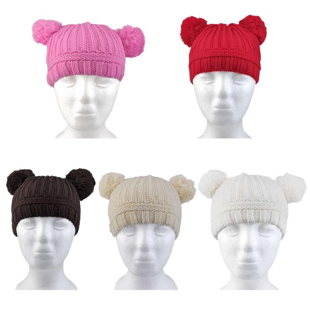 100% Brand New Lovely Baby Girls Boys Kids Dual Ball Knit Wool Sweater Toddler Cap Winter Warm Hat Cute Children HatÎäåæäà è àêñåññóàðû<br><br><br>Aliexpress