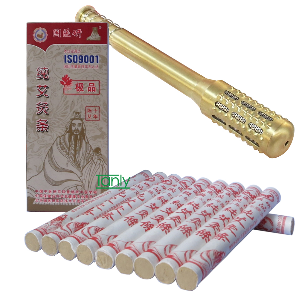 guoyiyan highest grade ten years pure moxa moxibustion stick 1.8x20cm (2pack + 1pcs device)/set<br><br>Aliexpress