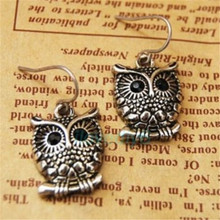 1Pair Tibetan Silver Retro Owl Hooks Dangle Earrings for Women Lady Fashion Jewelry Metal Earring
