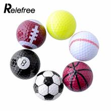 Relefree 1 Set 6PCs Novelty Assorted Creative Champion Sports Golf Double *Balls Joke Fathers Day Best Present Gift Rubber(China)