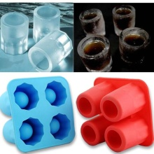 2016 New Cool 4 Cup Shape Rubber Shooters Ice Cube Shot Glass Freeze Mold Bar Bear Tool Random Color(China)