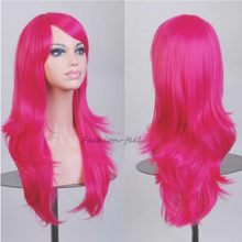 New Trendy Full Long Curly Wavy Layer Wig Women Ladies Unique Cosplay Party Anime Show Japanese Synthetic Wigs Hot Pink Hair