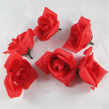 50pcs  Romantic Artificial Simulation Fake Silk Red Rose Flowers For Valentine Day Festival Home Party Wedding Decoration