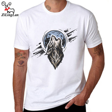ZiLingLan Wolf Design T Shirt Men's Funny T-Shirts Comfortable Soft Cotton Short Sleeve Fashion Tees Hipster Men US/EUR Size