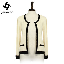 1447 Youaxon European Style Laides Spring Autumn Elegant Short Cardigan Overcoat Vintage Knitted Coat for Women a+ Sweater
