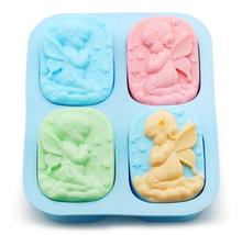 3pcs Silicone angel soap molds Clay candle molds children kids DIY candle making molds cake mould(China)
