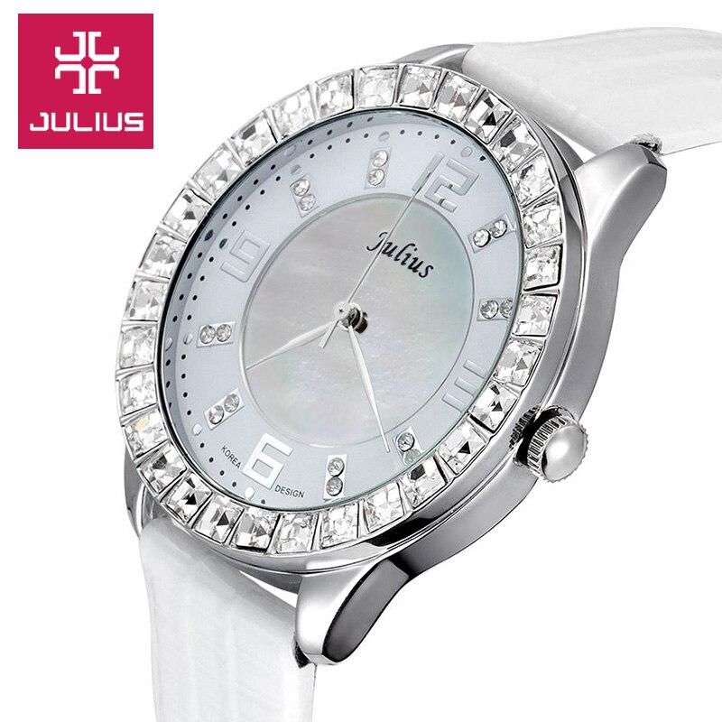 Shell Rhinestone Womens Watch Japan Quartz Hours Clock Fine Fashion Dress Bracelet Leather Girl Birthday Gift Box 379<br><br>Aliexpress