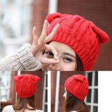 Fashion Lady Girls Winter Wool Makes Hotspot Cat Ear Hats Beanie Cute Devil Horns Crochet Braided Knit Snow Caps Red