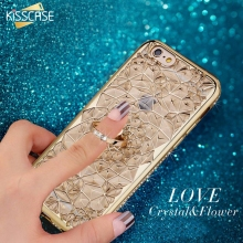 For iPhone 6 6s Case,KISSCASE Luxury Case For iPhone 6 Plus 6s Plus 6 6s 3D Diamond Flower Mobile Phone Ring Holder Stand Cover