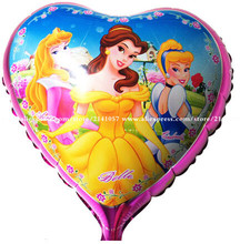 50pcs/lot 18 inch Three Princess mylar balloons helium foil ballons for birthday party decoration globos(China)