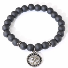 Fashion Men Charm OM Bracelets Black Matte Onyx Hamsa Woven Beaded Bracelets Crystal spacer beads Women Pulsera Ancla(China)