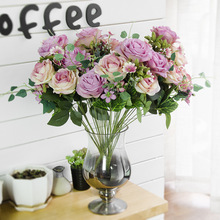 JAROWN Artificial silk French Rose Floral Bouquet Fake Flower Arrange Table Daisy Wedding Decor Party accessory Flores bouch(China)