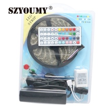 SZYOUMY Blister Packaging RGB Waterproof Led Strip 5050 5M 300LED + 44 Key Remote Controller + 12V 5A Power Free Shipping(China)