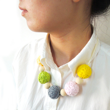 SALE New light jewelry   30mm thread crochet ball wooden chunky beaded necklace cotton  fiber natural pastel colorful WN09