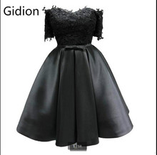 Free shipping little black lace ball gown short cocktail dress off the shoulder short sleeve sexy informal cocktail gowns 2017