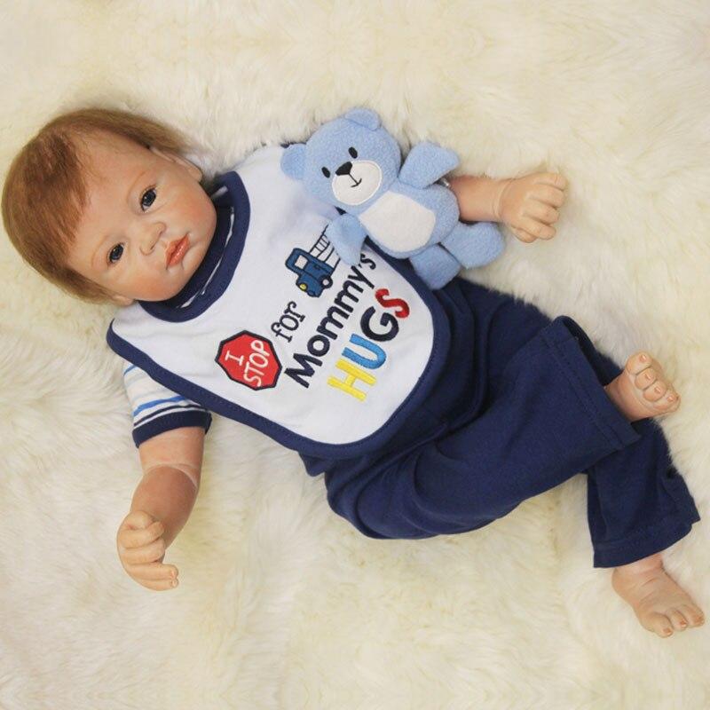 22inch Cute Interactive Doll 55cm Silicone Reborn Doll Newborn Babies Dolls Lifelike Realistic Kids Toys BeBe Bonecas Brinquedos<br><br>Aliexpress