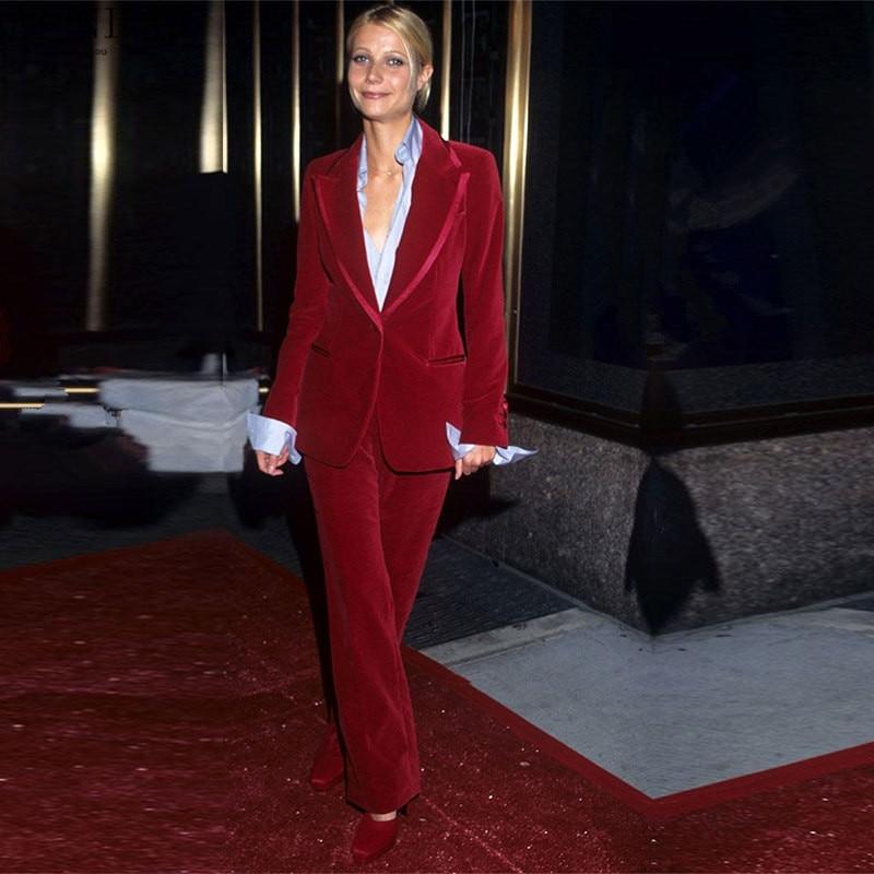 3-8 119 Wine Red Women Business Suits Velvet Formal Work Wear 2 Piece Sets Blazers Office Uniform Styles Ladies Elegant Pantsuit Custom