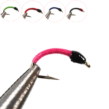 6pcs Pink Black Red Bule Green Larva Pan Fish Fly White Fish Blue Gill Perch Fishing Nymph Lure