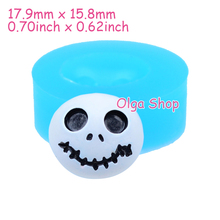 JYL103 17.9mm Halloween Skull Head Silicone Mold - Sugarcraft, Fondant, Cake Decoration, Jewelry Making, Cookie Biscuit, Resin