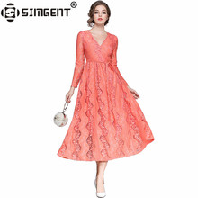 Buy Simgent Fashion Women Clothing New Spring V-Neck Long Sleeve Office Elegant Long Fit Flare Lace Dress Vestido Jurken SG71162 for $28.35 in AliExpress store