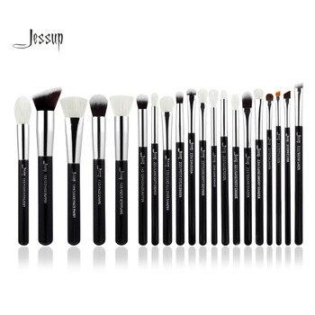 Jessup Noir/Argent Professionnel Maquillage Pinceaux Make up Brush Outils kit Fondation Poudre Brosses naturel-synthétique cheveux