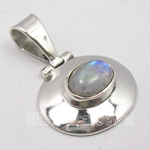 . Solid Silver Amazing BLUE FIRE RAINBOW MOONSTONE ART HINGE Pendant 2.7 CM