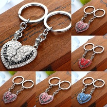 H:HYDE Couples jewelry LOVE YOU Double Hearts Keychain Ring Keyring Lover Romantic New chaveiro couple Key Chain Valentines Gift