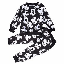 2018 New Mickey Clothing Sets Spring Plush Cotton Boy Clothing Set Mickey Set For Boys Heav Shirt Pants 2 Pieces Kids Clothing(China)