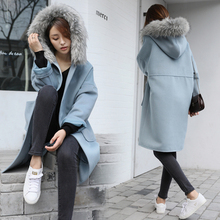 Women's woolen coat discounts in winter new cocoon-style woolen wool coat in the long section of wool woman coat(China)