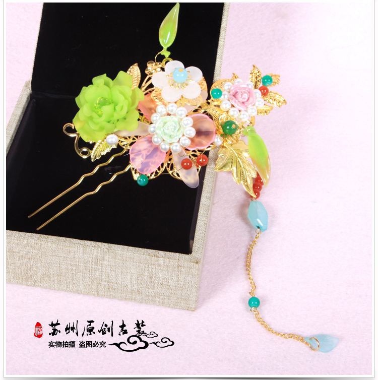Duo Bao Colored Flower Tassel Hair Stick Bride Wedding Hair Stick Photography Hair Accessory<br>