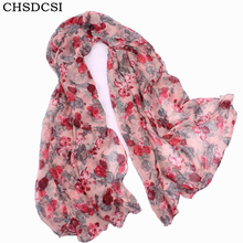 CHSDCSI Warm Women 2017 Fashion Flower Loop Scarf Female Small Rose Print Cotton Scarves Girl Winter Plants Infinity Shawl Wrap(China)