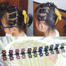 JINSE HCW012 Crystal Flower Mini Claw Clamp Hair Clip Hair Pin NEW Barrette Hair Accessories for Baby Girl Lady