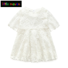 Summer Lace Girls Dress Princess White Floral Dresses Baby Big Girl Clothes for Party Holiday Children's Clothing Vestidos(China)