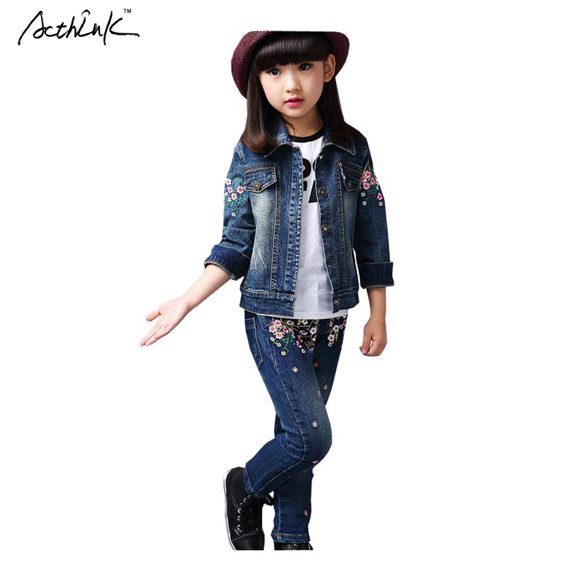 ActhInK New Kids Spring &amp; Winter Embroidered Denim Suit for Girls Brand Fashion Children Girls Floral Casual Clothing Set, YC072<br>