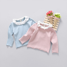 2017 New Sale Cotton Full Solid Regular Girls T-shirt Long-sleeved Children's Bottoming Shirt Clothing Autumn Baby  0-3 Year