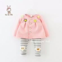 2017 flower girls clothing set toddler girls coat pink + stripe sequin heart leggings baby girls baby designers clothes infants