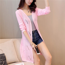 27 summer new slim long sweater Womens ice linen cardigan F1836 hollow hole