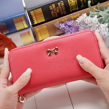 2016 women long clutch Wallets female Fashion PU Leather Bowknot coin bag phone purses Famous designer lady cards holder wallet