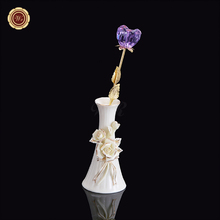 Purple Rose Dipped In 24k Gold Valentine's Day Gift Crystal Rose with Vase Holder Flower Romantic for Best Lover's Gifts