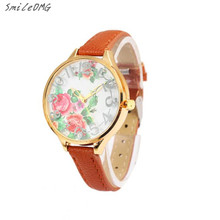SmileOMG Hot Marketing Luxury Women Lady Flower Print Rose Gold Dial Floral Flower Dress Wrist Watch Free Shipping,Sep 21