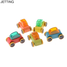 1:64 Candy Color Wooden Car Toy Mini Model Car Detachable Wooden Children Toys Car Kids Educational Toy Color Random